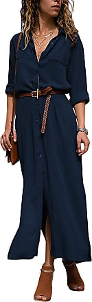 Yidarton Womens Chiffon Maxi Shirt Dress Roll up Sleeve Split Button Down Casual Long Dresses (Navy, XL)