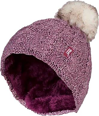 Heat Holders 1 Ladies GENUINE Heat Holder Heatweaver Cable Knit Thermal Winter Warm HAT TOG 3.4 Variations - Pom Pom/Turn Over Cuff/Standard Beanie (Ladies Rose PO