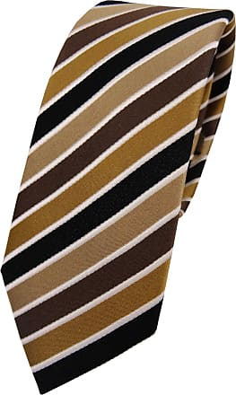 TigerTie Mens Striped Necktie Brown braun beige anthrazit creme One size