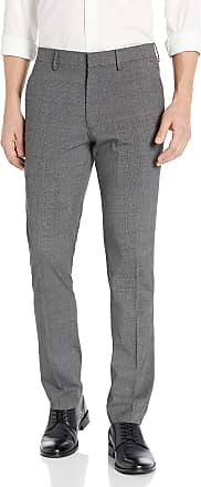 Kenneth Cole Reaction Mens Stretch Heather Glen Plaid Slim Fit Flat Front Dress Pant, Charcoal HTR, 31W x 30L