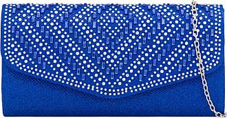 Craze London NEW Women Envelope Style Evening Purse Wedding Prom Party Bridal Clutch Bag Ladies SilverClutch bags,Party Matching Clutch purse (Style 2 Royal Blue)