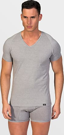 ZD Zero Defects Zero Defects grey cotton v-neck t-shirt plus size