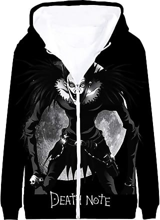 Haililais Death Note Pullover Coat Long Sleeve Printed Hooded Outerwear with Zipper Anime Popular 3D Parent-Child wear Unisex (Color : A03, Size : 180)