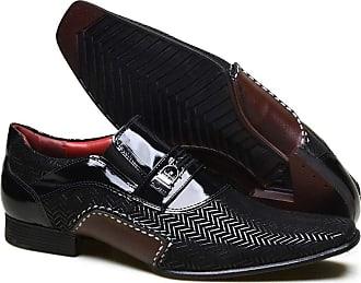 Calvest Sapato Social em Couro com Textura NBJ e Verniz Calvest - 3260C889 Preto - 40