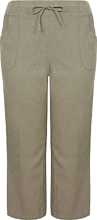 Yours Clothing Clothing Womens Linen Mix Wide Leg Trousers Size 22-24 Khaki