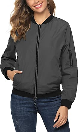 Aibrou Women Bomber Jacket Casual Lightweight Zip Up Softshell Flight Coat Classic Jacket with Pockets Gray