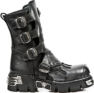 New Rock Newrock 591-S2 Silver Flame Metal Black Leather Heavy Punk Gothic Boots 10