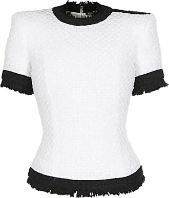 Balmain Blusa Servistyl Tweed de Algodão Branca - Mulher - Branco - 38 FR