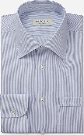 Apposta Shirt stripes light blue 100% non-iron cotton dobby double twisted, collar style regular straight point collar