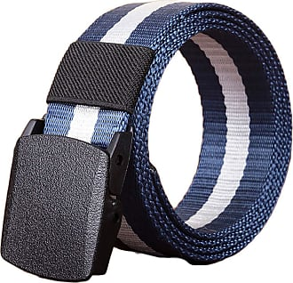 Generic JIER Canvas Belt Mens Outdoor Leisure Nylon Plastic Buckle Canvas Belt Mans Tactical Military Style Quick Drying and Adjustable Belts Waistband (Blue,