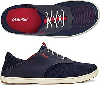 Olukai Mens Nohea Moku Casual Sneaker (16, Trench Blue/Deep Red)