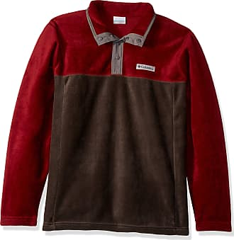 Columbia Mens Steens Mountain Half Snap Fleece Jacket, Buffalo, Red Jasper, City Grey, Medium