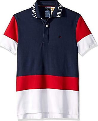 Tommy Hilfiger Mens Adaptive Polo Shirt with Magnetic Buttons Custom Fit, Navy/Red/Multi, Small