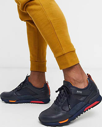 BOSS Parkour transluscent mesh trainers in navy