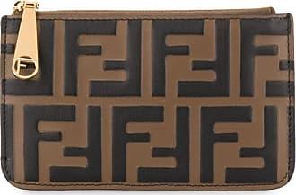 Fendi Porta-cartões monogramado com zíper - Marrom