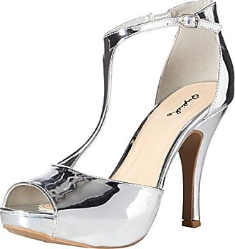 Qupid Womens Platform Sandal Heeled, Silver, 7 M US