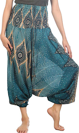 Lofbaz Womens Floral Eye Harem Smocked Waist 2 in 1 Jumpsuit Pants Teal Green 2XL