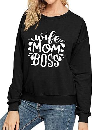 Dresswel Women Wife Mom Boss Sweatshirts Crew Neck Long Sleeve T Shirt Pullover Blouse Tops Black