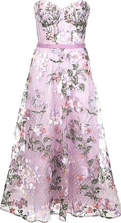 Marchesa floral embroidered midi dress - PURPLE