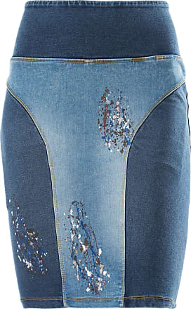 Freddy High-waisted denim-effect WR.UP skirt with paint splatter details