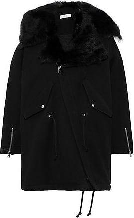 Iro Iro Woman Faux Shearling-trimmed Twill Coat Midnight Blue Size 34