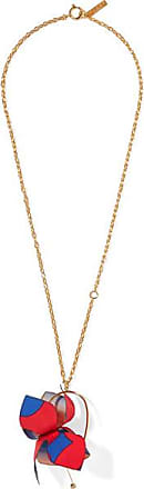 Marni Gold-tone, Cotton-canvas And Crystal Necklace - Red