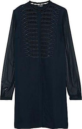 Elie Tahari Elie Tahari Woman Divitra Georgette-paneled Embellished Silk-crepe Blouse Navy Size XS