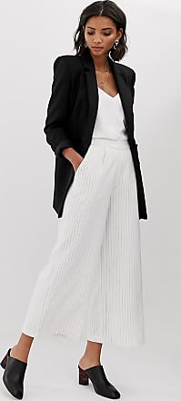 Y.A.S Liva pinstripe wide leg co-ord trousers-White