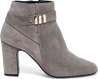 dbf58618bd1 Éram boots talon gris cuir velours et détails dores
