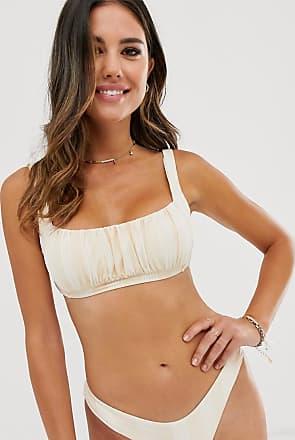 Zulu & Zephyr ruched bikini top in stripe-Multi