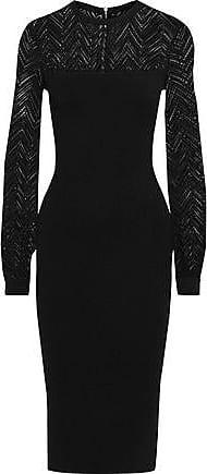 3b59bc6c0bd Roland Mouret Roland Mouret Woman Simmons Crochet And Stretch-knit Dress  Black Size XS