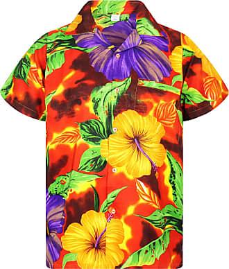 V.H.O. Funky Hawaiian Shirt, Big Flower, Orange, 3XL