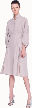Akris Stand Up Collar Dress in Washed Poplin