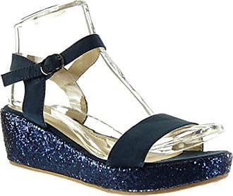 9a4183b569c1 Angkorly Damen Schuhe Sandalen Mule - Plateauschuhe - String Tanga -  Glitzer - glänzende Keilabsatz high