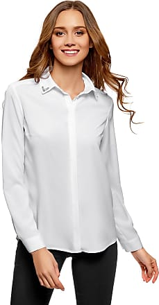 oodji Womens Straight-Fit Blouse with Collar Decoration, White, UK 14 / EU 44 / XL