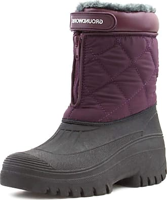 Groundwork Womens Plum and Black Snow Boot - Size 7 UK - Multicolour