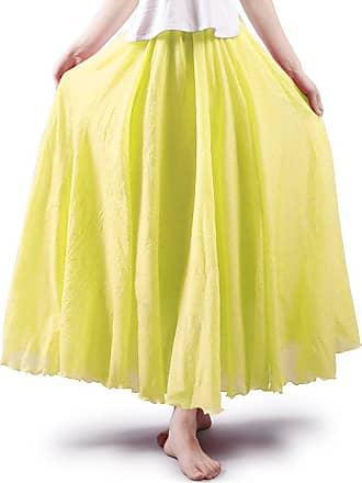 OCHENTA Aeslech Womens Bohemian Style Elastic Waist Band Cotton Linen Floor Length Maxi Skirt Light Yellow 95cm