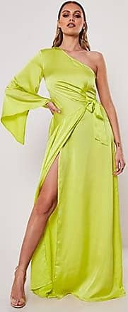 Missguided One-Shoulder Satin Gown at Forever 21 Lime