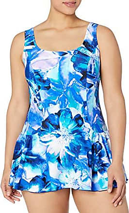 Maxine Of Hollywood Womens Plus-Size Seam Front Swim Dress One Piece Swimsuit