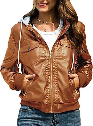 VITryst Women Hooded Casual Faux Leather Moto Biker Short Jacket Coat,Brown,XX-Large