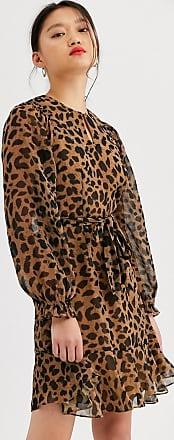 Whistles brushed cheetah mini dress-Brown
