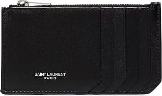 Saint Laurent Porta-cartões com logo gravado - Preto
