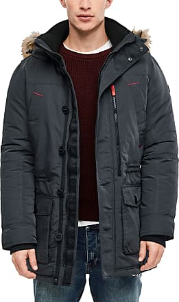 Q/S designed by Mens Winter Parka with Fake Fur Detail - Grey - Large
