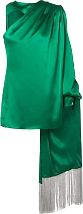 Hillier Bartley One-shoulder Draped Silk-satin Blouse - Green