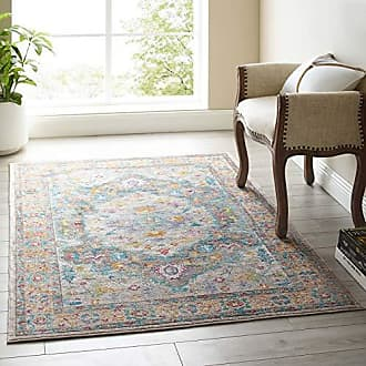 ModWay Anisah Distressed Vintage Floral Persian Medallion Area Rug, 4x6, Gray, Ivory, Yellow, Orange