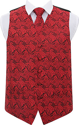 DQT Men Paisley Floral Wedding Waistcoat Neck Tie and Hanky Black & Red 48