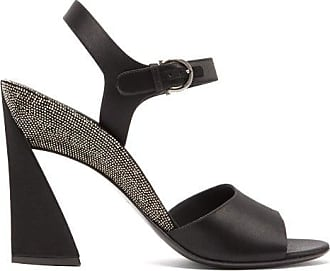 Salvatore Ferragamo Aede Crystal-embellished Satin Sandals - Womens - Black