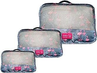 Yin's Kit 3 Necessaire Organizador Bagagem Mala Viagem Flamingo YS27065