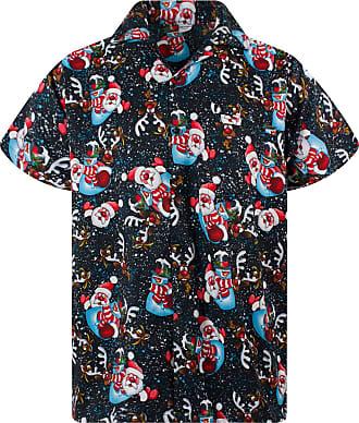 V.H.O. Funky Hawaiian Shirt, Shortsleeve, Christmas Snowflakes, Black, 6XL