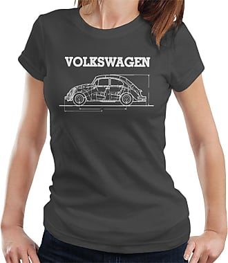 Volkswagen Beetle White Technical Diagram Womens T-Shirt